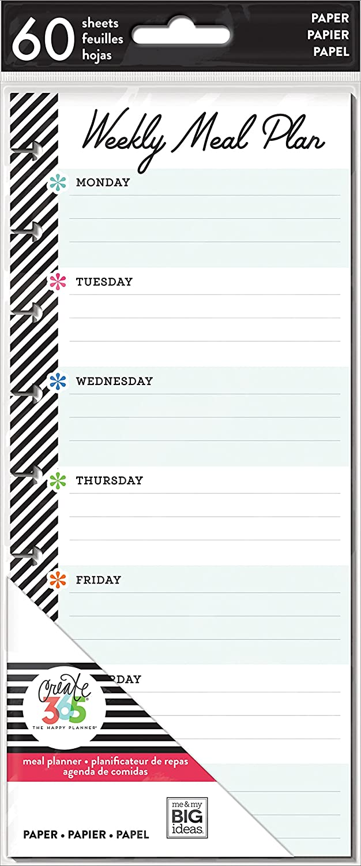 Me & My Big Ideas FIL-24 Happy Planner Medium Half Sheet Fill Paper 60/Pkg Meal Planning, Multi
