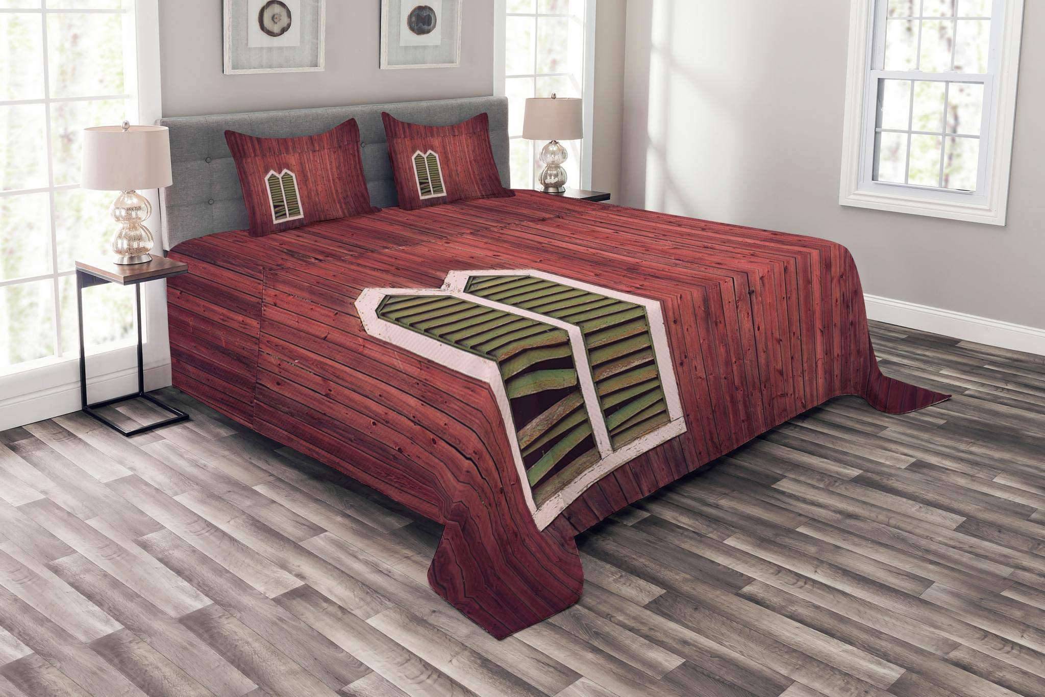 Lunarable Shutters Bedspread Set King Size, Wooden Rustic Wall with Window and Broken Shutters Vertical Panels Traditional House, Decorative Quilted 3 Piece Coverlet Set with 2 Pillow Shams, Burgundy