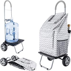 dbest products Bigger Trolley Dolly, Grey ChevronShopping Grocery Foldable Cart