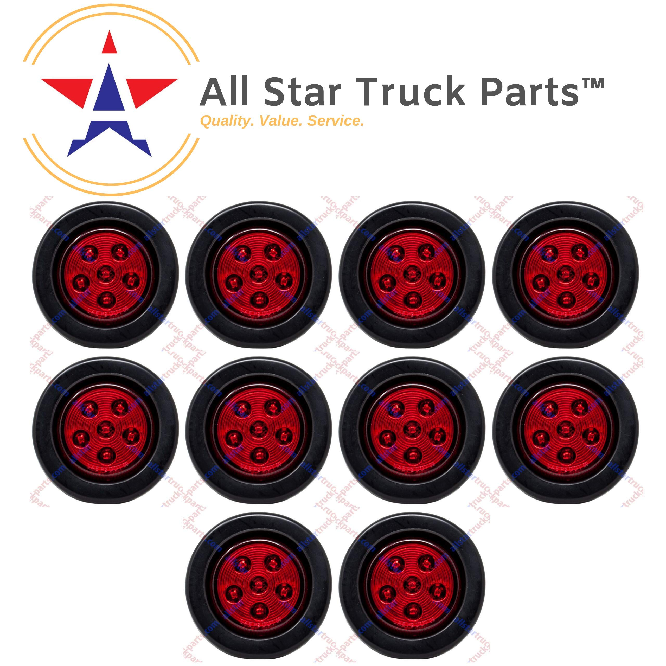 Qty 10-2.5'' Round 6 LED Red Light Truck Trailer Side Marker Clearance Grommet Kit by All Star Truck Parts