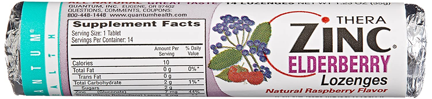 Quantum Health TheraZinc Elderberry Roll, Raspberry Lozenges, Made with Zinc Gluconate for Immune Support, 14 Count
