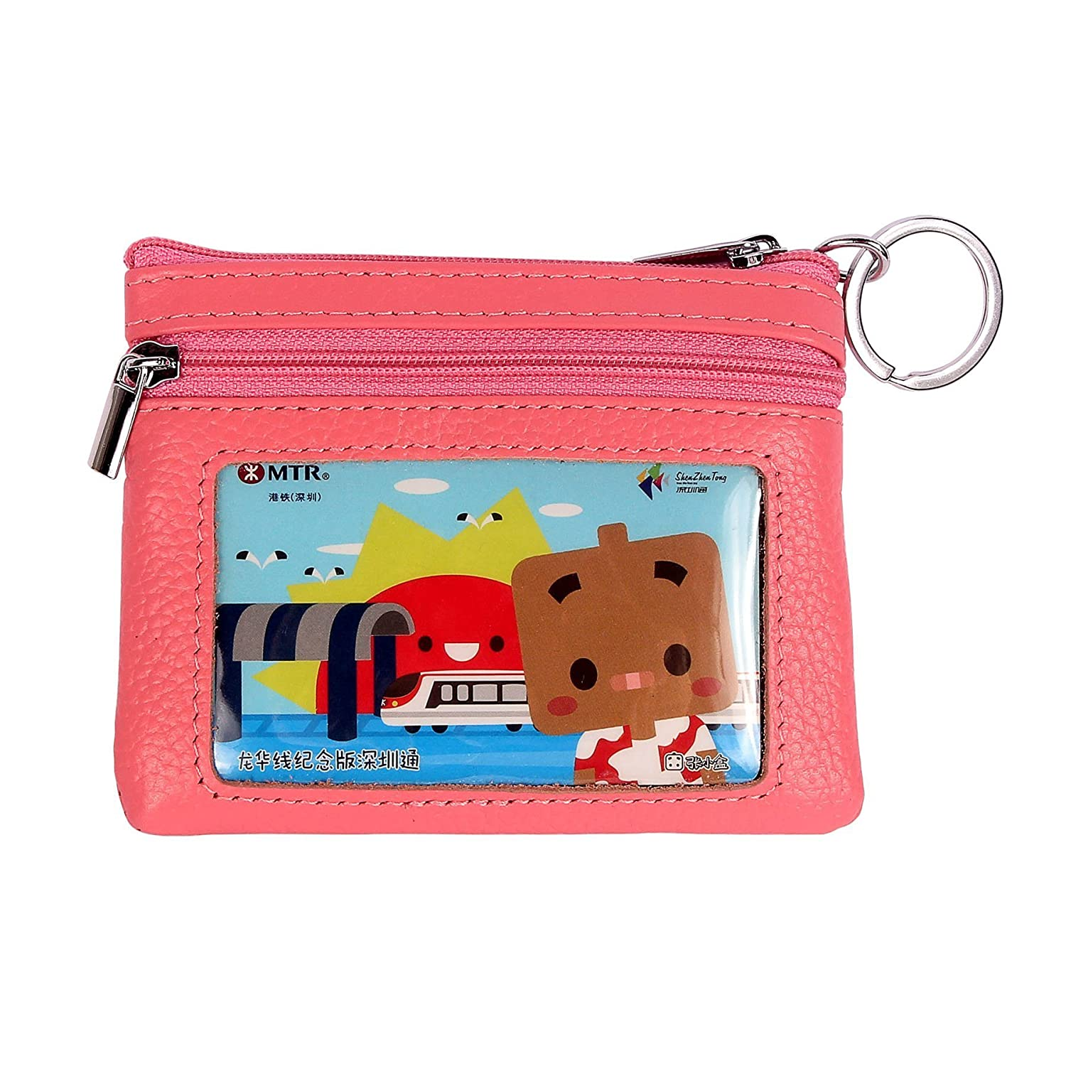 9b23ccce58e5 DukeTea Small Leather Change Purse Coin Wallet with Keychain   Zipper ID  Window LQD001-BLU
