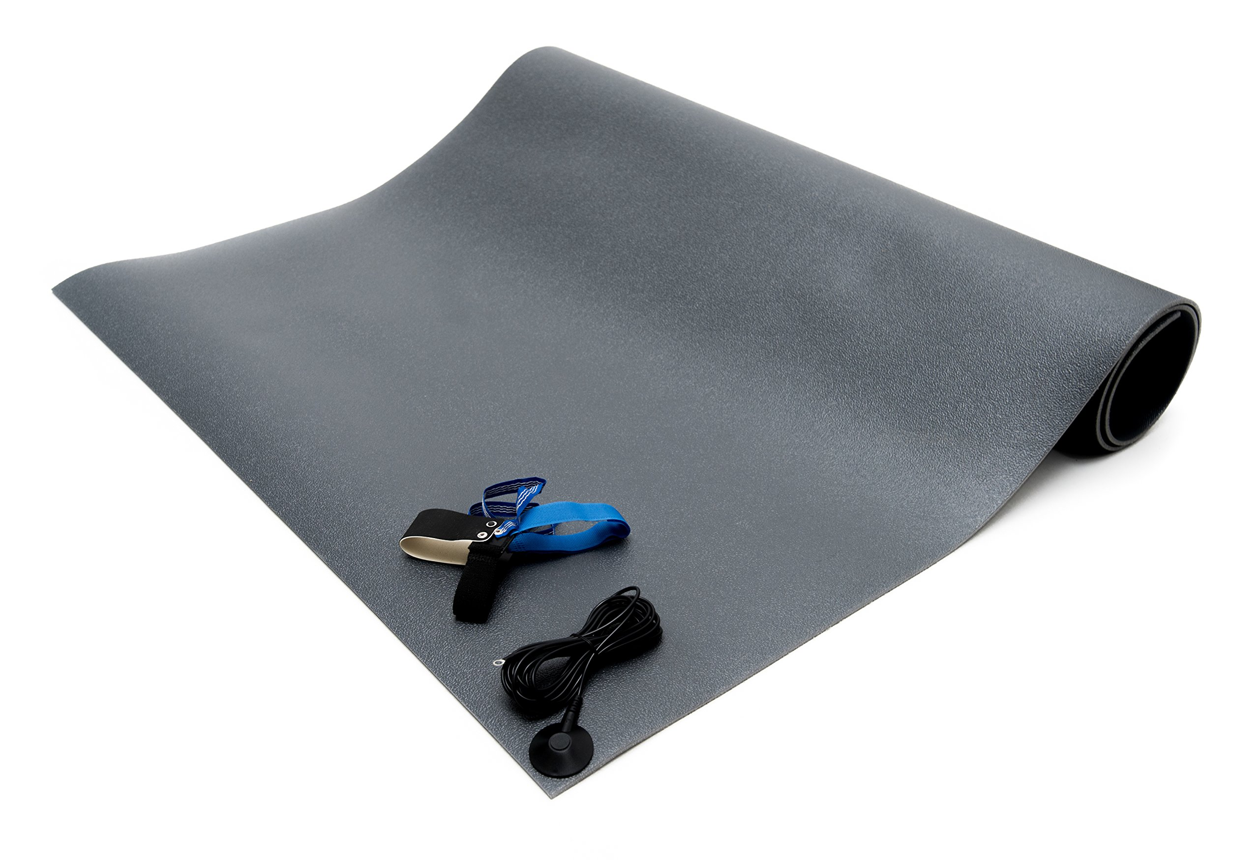Bertech ESD Chair Mat Kit with a Heel Grounder and Grounding Cord, 3' Wide x 3' Long x 0.190'' Thick, Gray