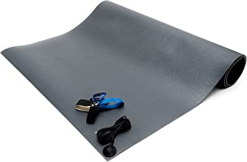 "Bertech ESD Chair Mat Kit with a Heel Grounder and Grounding Cord, 4' Wide x 5' Long x 0.190"" Thick, Gray"