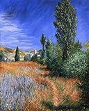 Legendarte P-195 Quadro di  Claude Monet - Paesaggio a Saint-Martin, Stampa digitale su tela, Multicolore, cm. 80 x 100