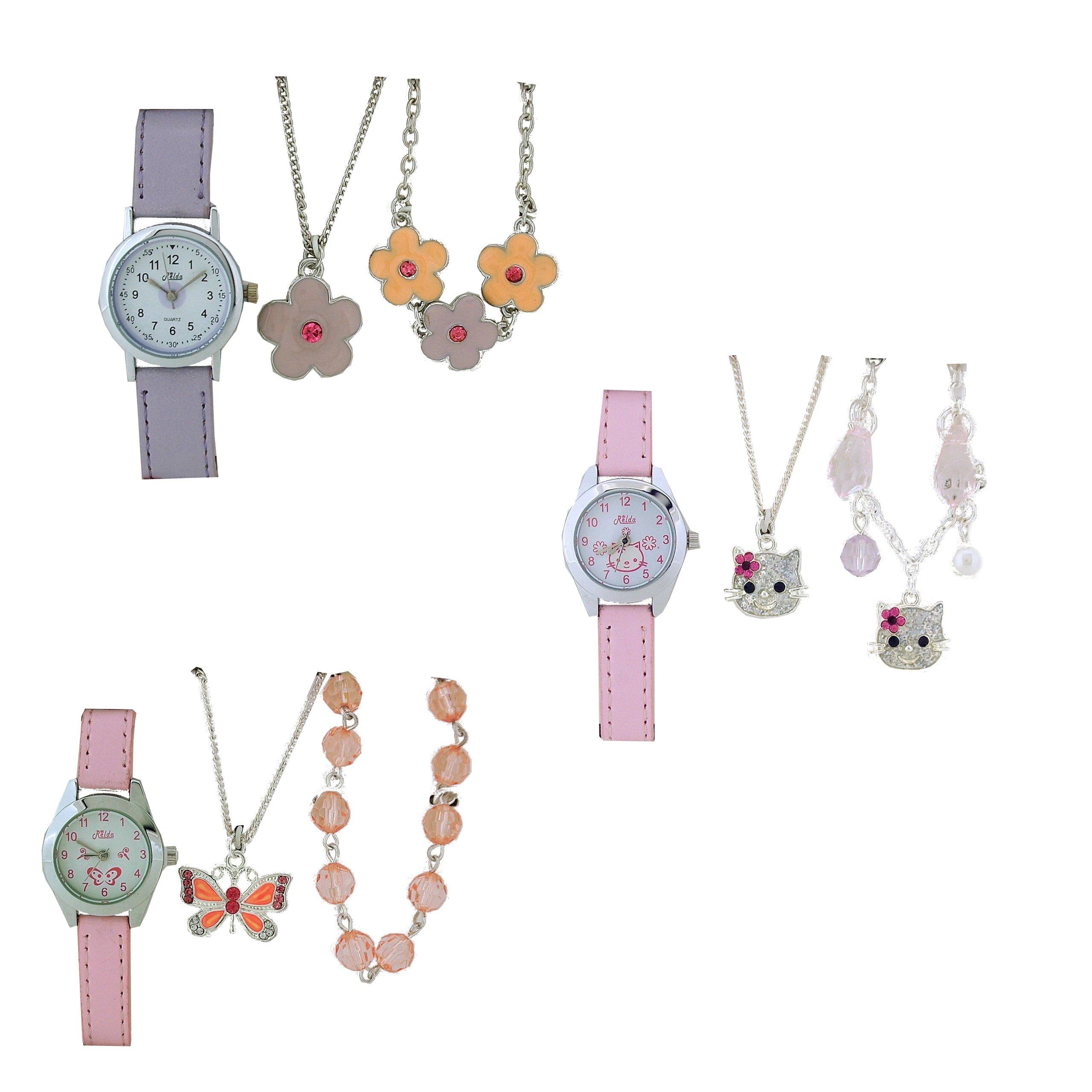 Relda Kids Watch & Jewellery Gift Set - Pack of 3 Designs Rel52