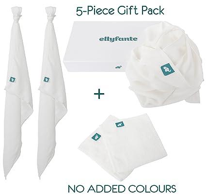 ellyfante toallitas y Muslins Set de regalo | color blanco | toallitas (X2) se