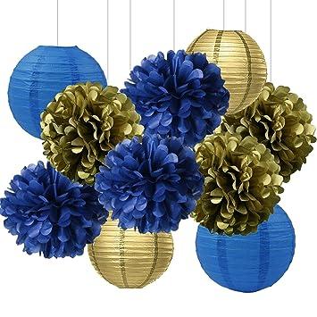 Amazon Com Bridal Shower Decorations Navy Blue Gold Tissue Paper