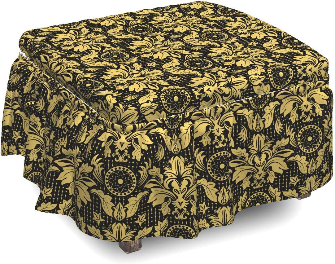 Ambesonne Damask Ottoman Cover, Antique Foliage Motifs, 2 Piece Slipcover Set with Ruffle Skirt for Square Round Cube Footstool Decorative Home Accent, Standard Size, Yellow Black