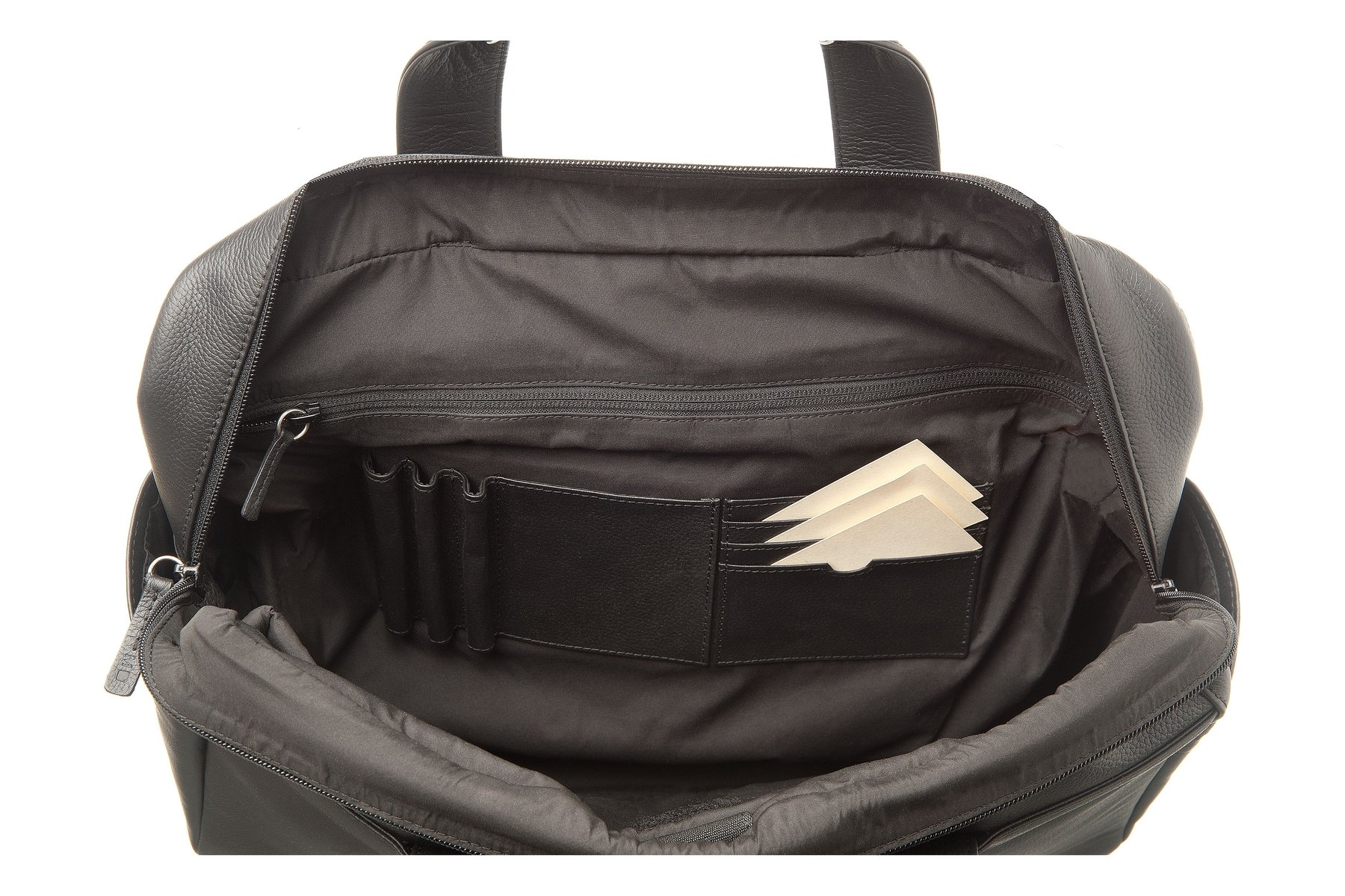 Moleskine Classic Leather Utility Bag, Black, For Work, School, Travel, and Everyday Use, Space for Tablet Laptop and Chargers, Notebook Planner or Organizer, Padded Adjustable Straps, Secure Zipper by Moleskine (Image #7)