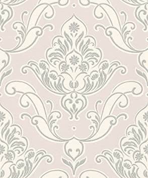 Gatsby Rose Pale Argent Papier Peint Motif Style Damas Rasch