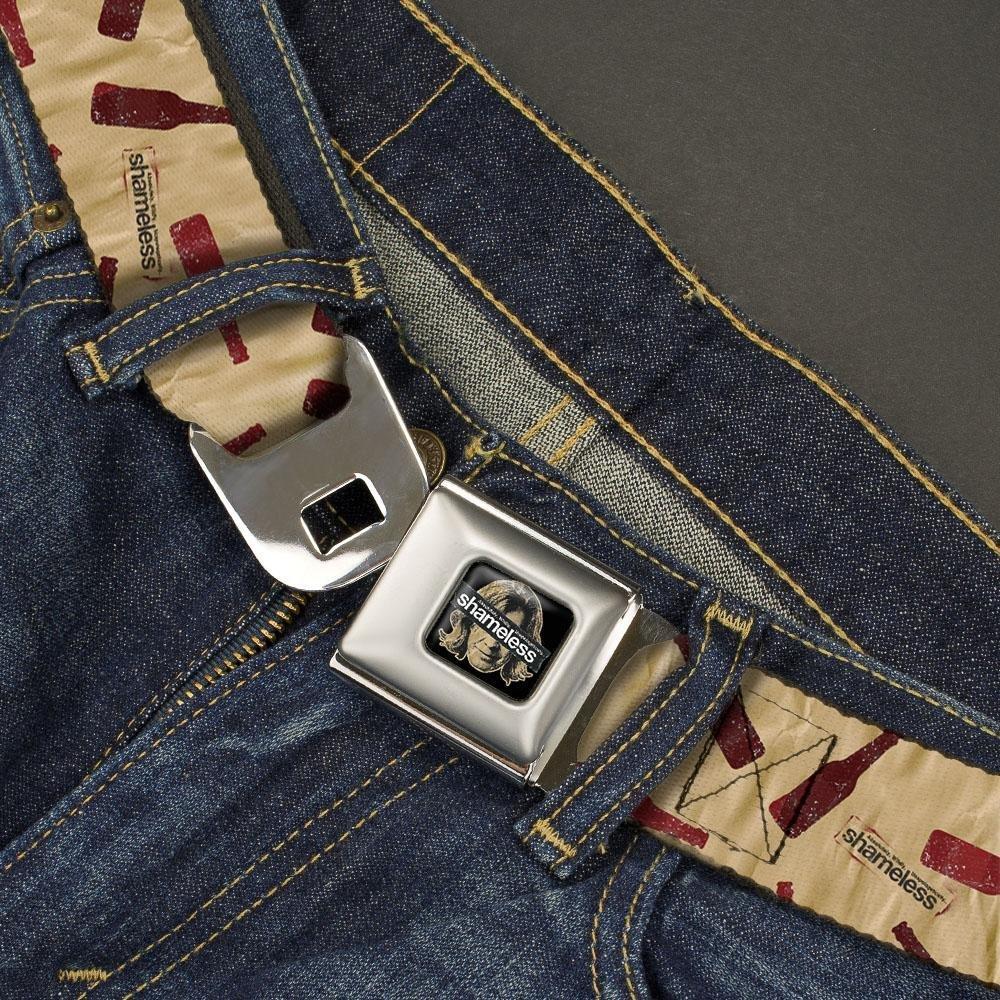 Shameless Logo//Bottles Scattered tan//red Buckle-Down Mens Seatbelt Belt XL 1.5 Wide-32-52 Inches