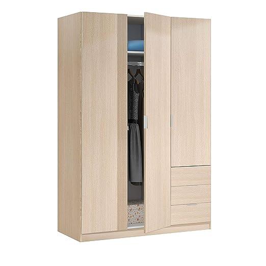 Habitdesign LCX323R - Armario ropero de Tres Puertas y Tres cajones, Color Roble, Medidas 121 cm (Largo) x 180 cm (Alto) x 52 cm (Fondo)