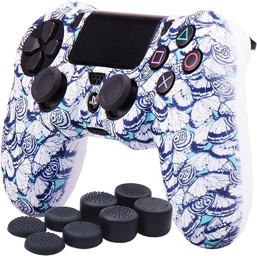 YoRHa Transferencia de agua Impresión (mariposa) Estuche de piel con cubierta de silicona para Controlador Sony PS4 / slim / Pro x 1 (Blanco) Con empuñaduras Pro x 8: Amazon.es: Videojuegos