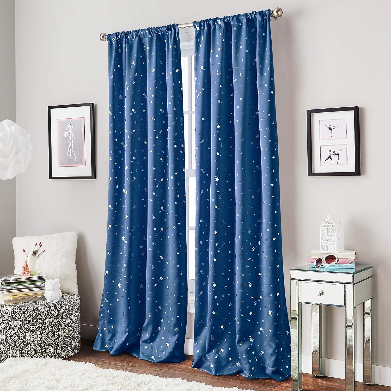 Amazon Com Curtainworks Starry Night Room Darkening Rod Pocket Window Curtain Single Panel 84 Inch Blue Home Kitchen