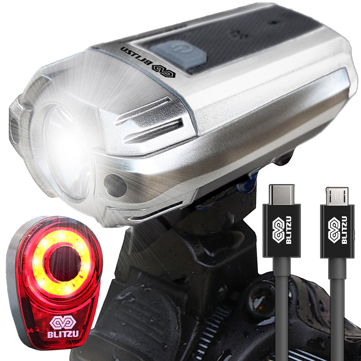 BIG SALE 390 USB Rechargeable LED Bike Front Head Light Set Bicycle Tail Light