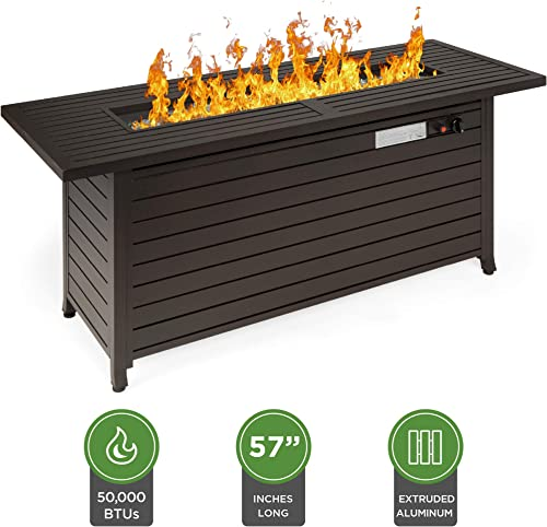 Best Choice Products 57in 50,000 BTU Rectangular Extruded Aluminum Gas Fire Pit Table w Burner Lid, Storage, Cover, Glass Beads