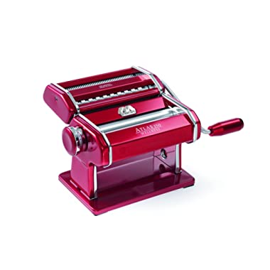 Marcato 8334 Atlas Machine, Made in Italy, Red, Includes Pasta Cutter, Hand Crank, and Instructions