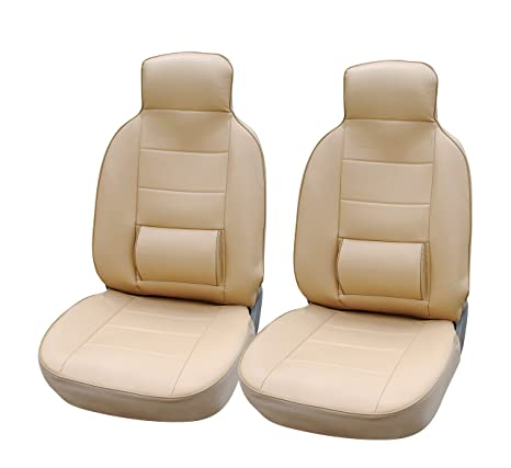 Protech 125003 Tan Leather Like Car Seat Cover With Lumbar Support For Standard Bucket