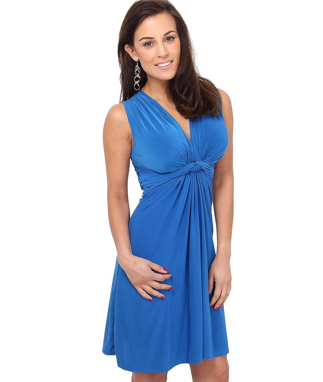 TALLA 36. KRISP Vestido Corto Patinadora Vuelo Fruncido Busto Azul Eléctrico (9354) 36