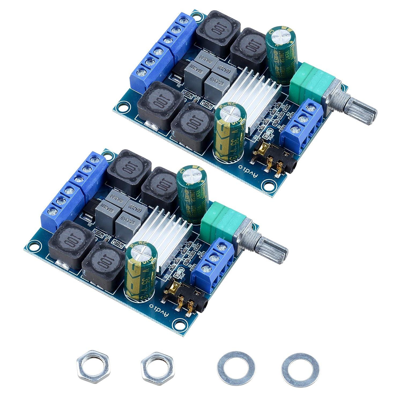 DesignSter 2 PCS TPA3116D2 estéreo de dos canales tablero del amplificador de alta potencia digital subwoofer potencia para los altavoces de cine en casa de bricolaje (2x50W 5V 12V 24V)