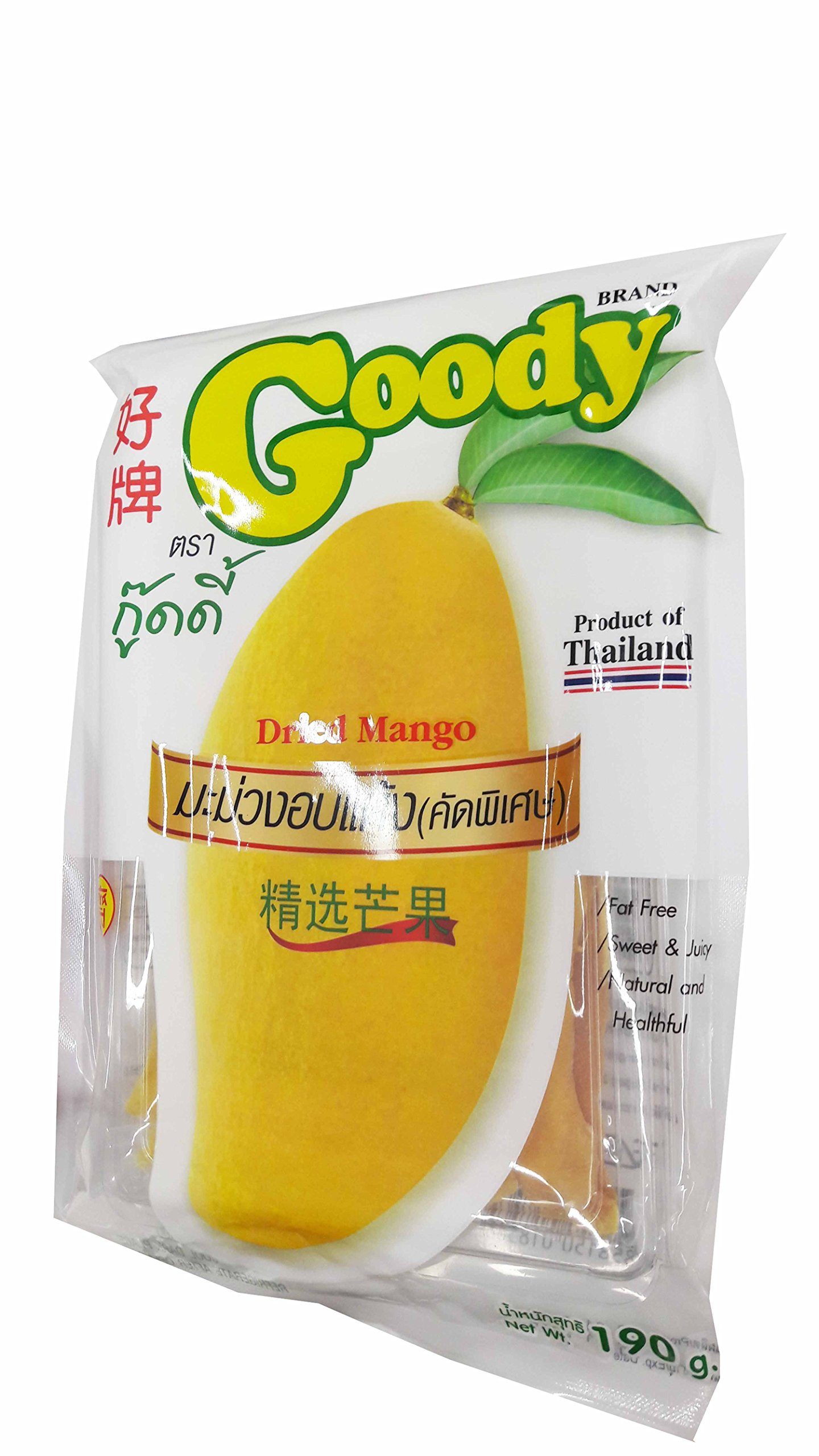 2 Packs of Dried Mango, Made From Real Mango, Delicious Fruit Snack From Goody Brand. Fat free, Sweet & Juicy, Natural and Healthful. (190 g/pack).