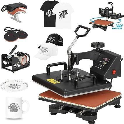 6 IN 1 Swing Away F2C Pro 6 in 1 Combo Heat Press Machine T-shirt Hat Cap Mug Plate Digital Transfer Sublimation Machine