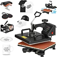F2C 5 in 1 Pro Heat Press Machine 12x15 Digital Heat Transfer Sublimation Swing-Away for Hat Mug Plate Cap T-Shirt 360…