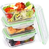 Symbom Glass Food Storage Containers with Locking Lids, Airtight Meal Prep Lunch Containers, Heat Up to 900℉, Microwave, Freezer, Oven & Dishwasher Safe, BPA Free & FDA Approved (3 Set, 34 oz)