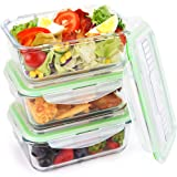 Amazon Price History for:Symbom Glass Food Storage Containers with Locking Lids, Airtight Meal Prep Lunch Containers, Heat Up to 900℉, Microwave, Freezer, Oven & Dishwasher Safe, BPA Free & FDA Approved (3 Set, 34 oz)