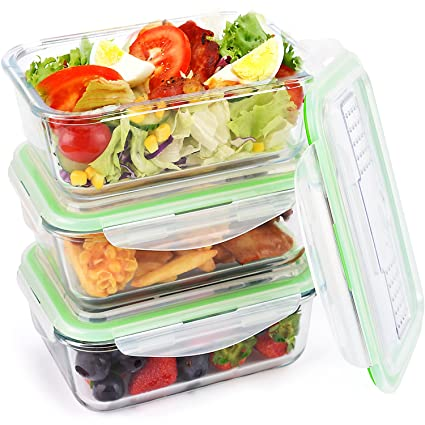 Amazoncom Glass Food Storage Containers Leakproof Meal Prep Lunch