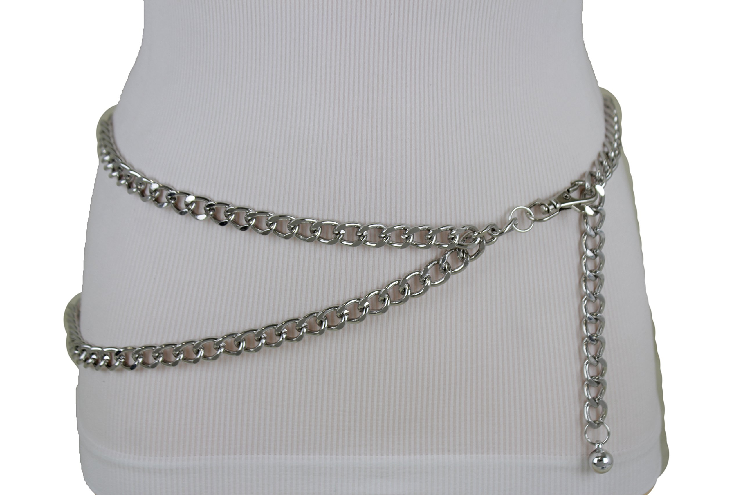 TFJ Women Narrow Belt Hip High Waist Silver Metal Chunky Chain Strands S M L