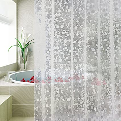 Carttiya Clear Shower Curtain Liner Waterproof No Chemical Odor Bathroom With 12 Hooks