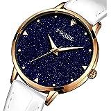 S2SQURE 腕時計 クォーツ レディース 電池付き シンプル 革バンド 星空 ユニーク ネイビー ホワイト