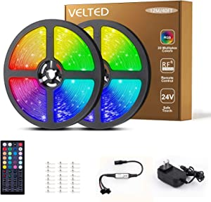 VELTED 40FT LED Strip Lights RGB, Rope Lights Color Changing Flexible 5050 360 LEDs with 44 Keys RF Remote Controller, Light Strip Kit for Home Bedroom Kitchen Bar Halloween Christmas Decoration, 24V