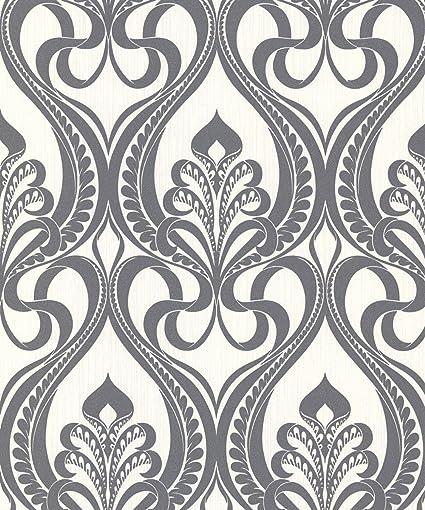 Grandeco Gold Art Nouveau Charcoal Wallpaper 113001 Metallic