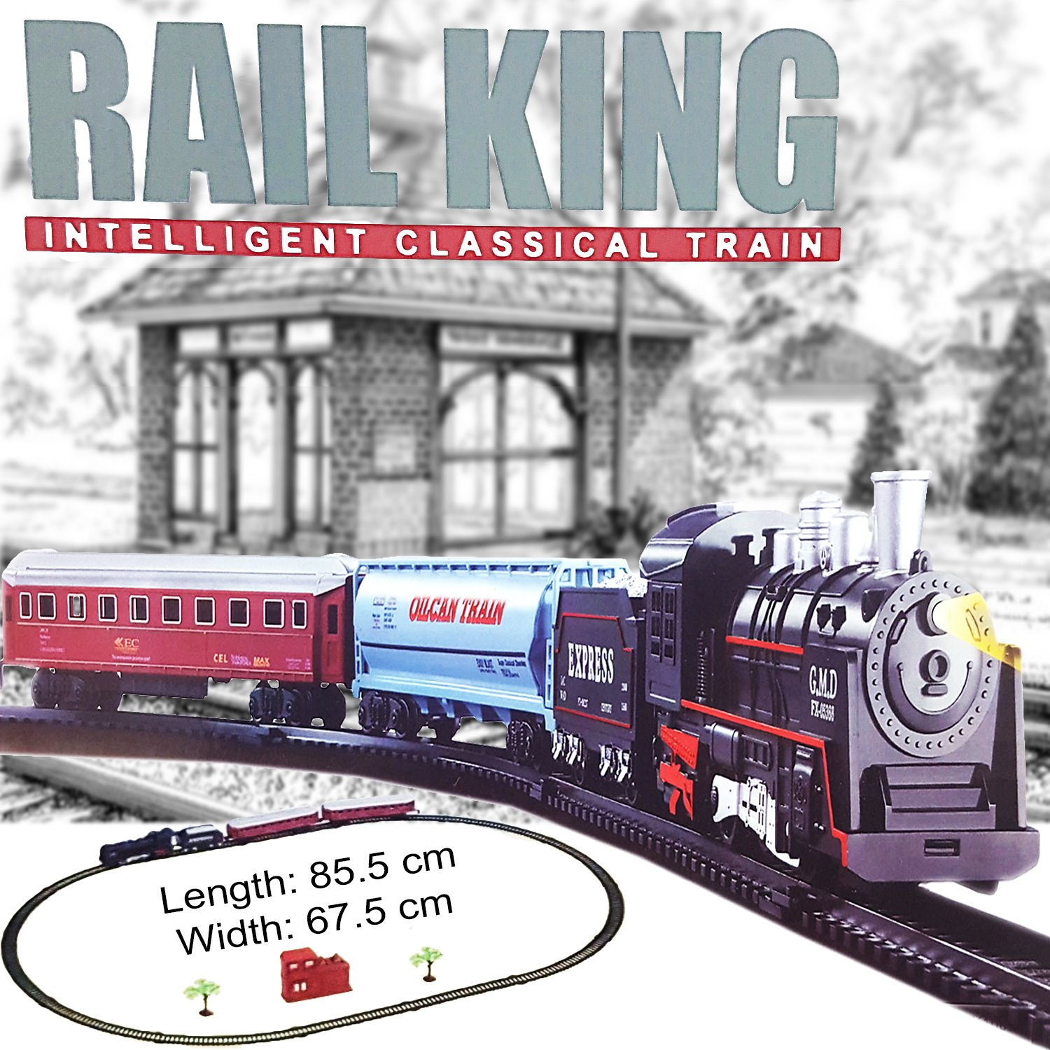 Kids Train Set Rail Track Classic Traditional Style Features