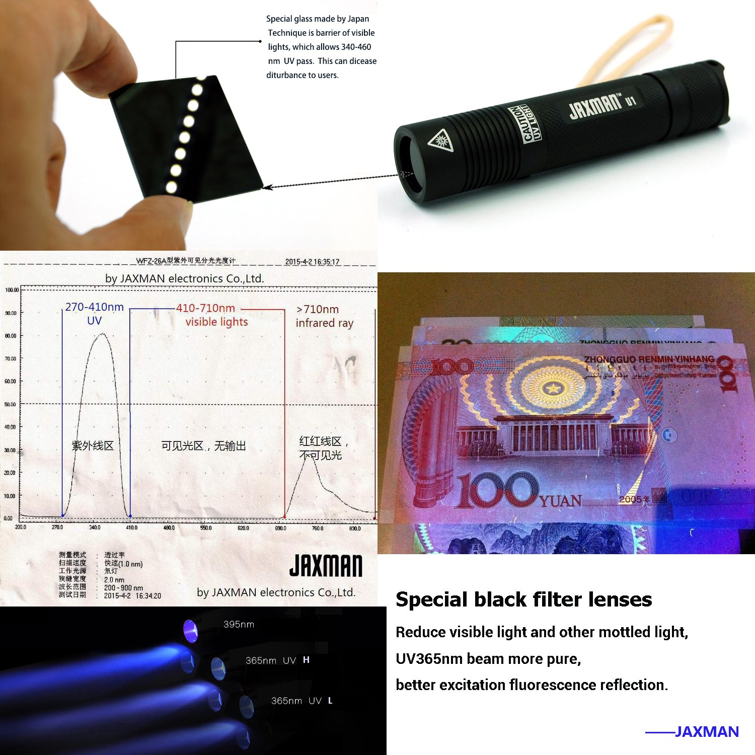 JAXMAN MINI 365nm UV flashlight HIGH POWER PROFESSIONAL 3W Nichia Dual LED Works Even in Ambient Light. 18650 Rechargeable Battery Included - Registered Design by JAXMAN (Image #4)
