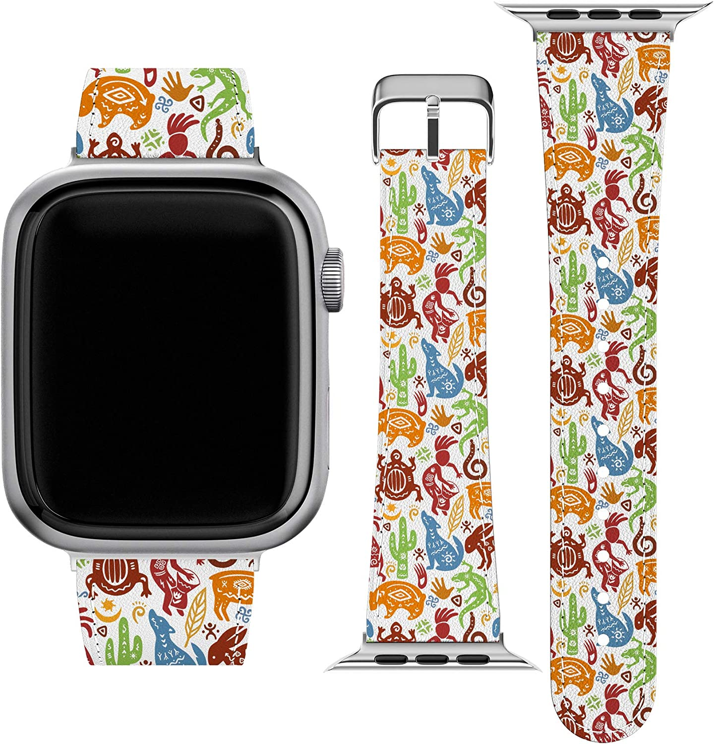 Lex Altern Band Compatible with Apple Watch Series 6 SE 5 4 3 2 1 38mm 40mm 42mm 44mm Wristband Print Tribal Art Mexican Stylish Native American Vegan Leather Aboriginal Thin Durable Slim Strap wh562