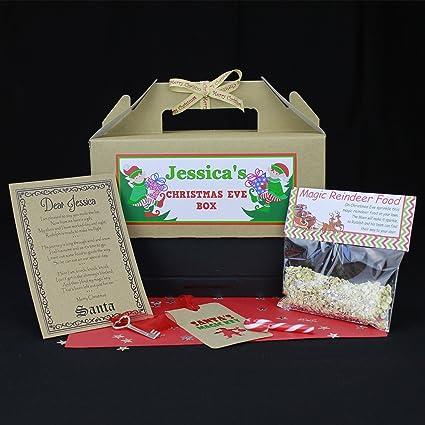 Tabethas Touch Nochebuena caja personalizada   Papá Noel clave & Letter   Magic reno alimentos  
