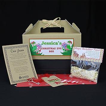 Tabethas Touch Nochebuena caja personalizada | Papá Noel clave & Letter | Magic reno alimentos |