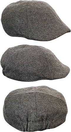 Mens Tweed Baker Boy Hat Herringbone Flat Cap Peaky Blinders Vintage