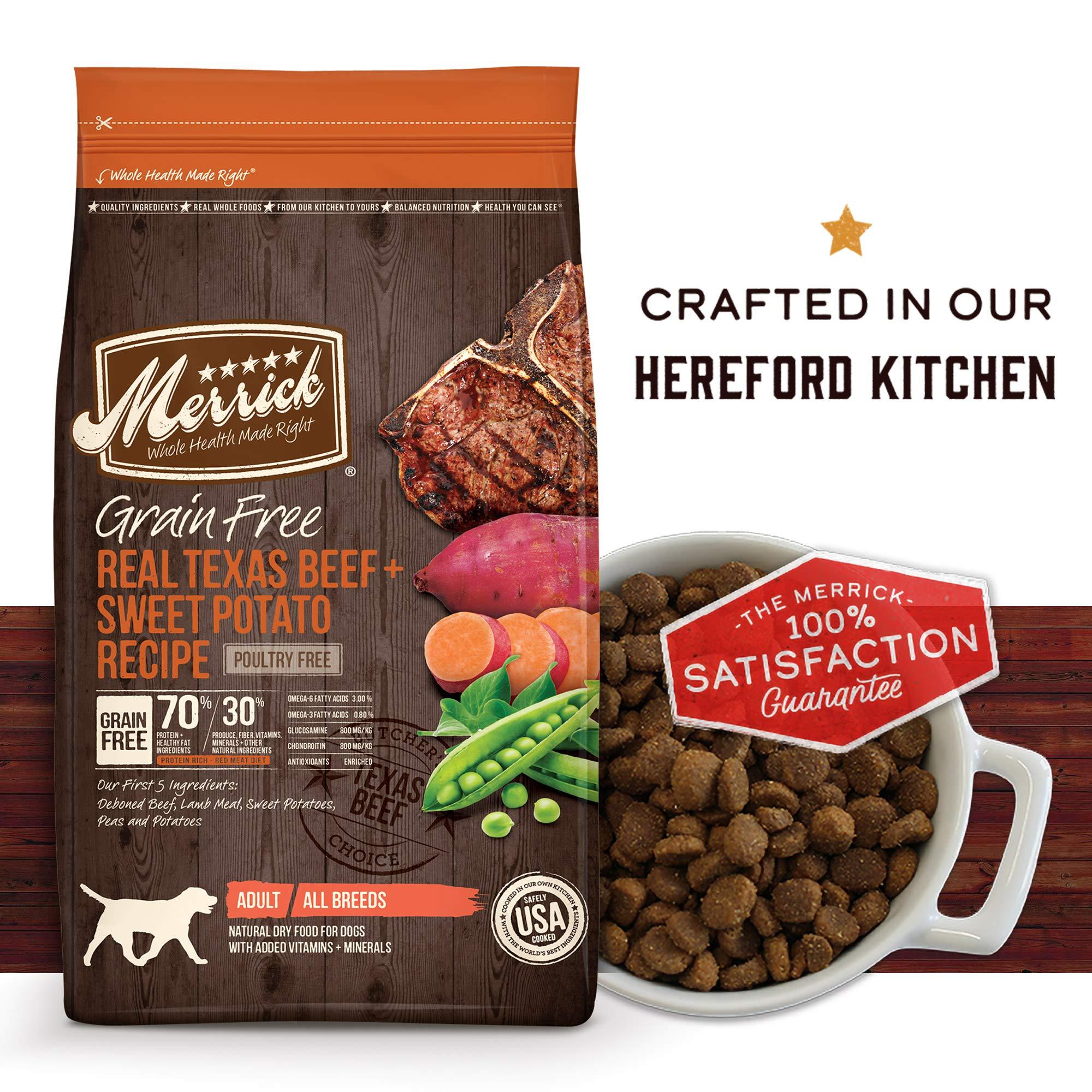 Merrick Grain Free Dry Dog Food Recipes, Texas Beef, 25 Pound by Merrick