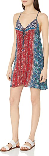 Angie Women's Juniors Lace Up Detail Printed Dress