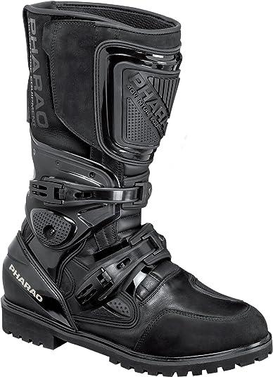 Pharao Motorradschuhe Motorradstiefel Lang Reise Touren Stiefel 1 0 Schwarz 47 Unisex Enduro Reiseenduro Ganzjährig Leder Schuhe Handtaschen