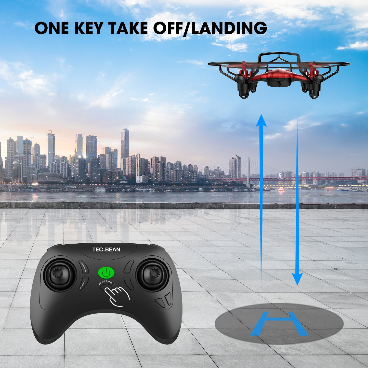 TEC.BEAN Mini Drone for Beginners Hovering Quadcopter with Altitude Hold Mode One Key Take Off Landing Return Home Entry Level for Kids by TEC.BEAN (Image #7)