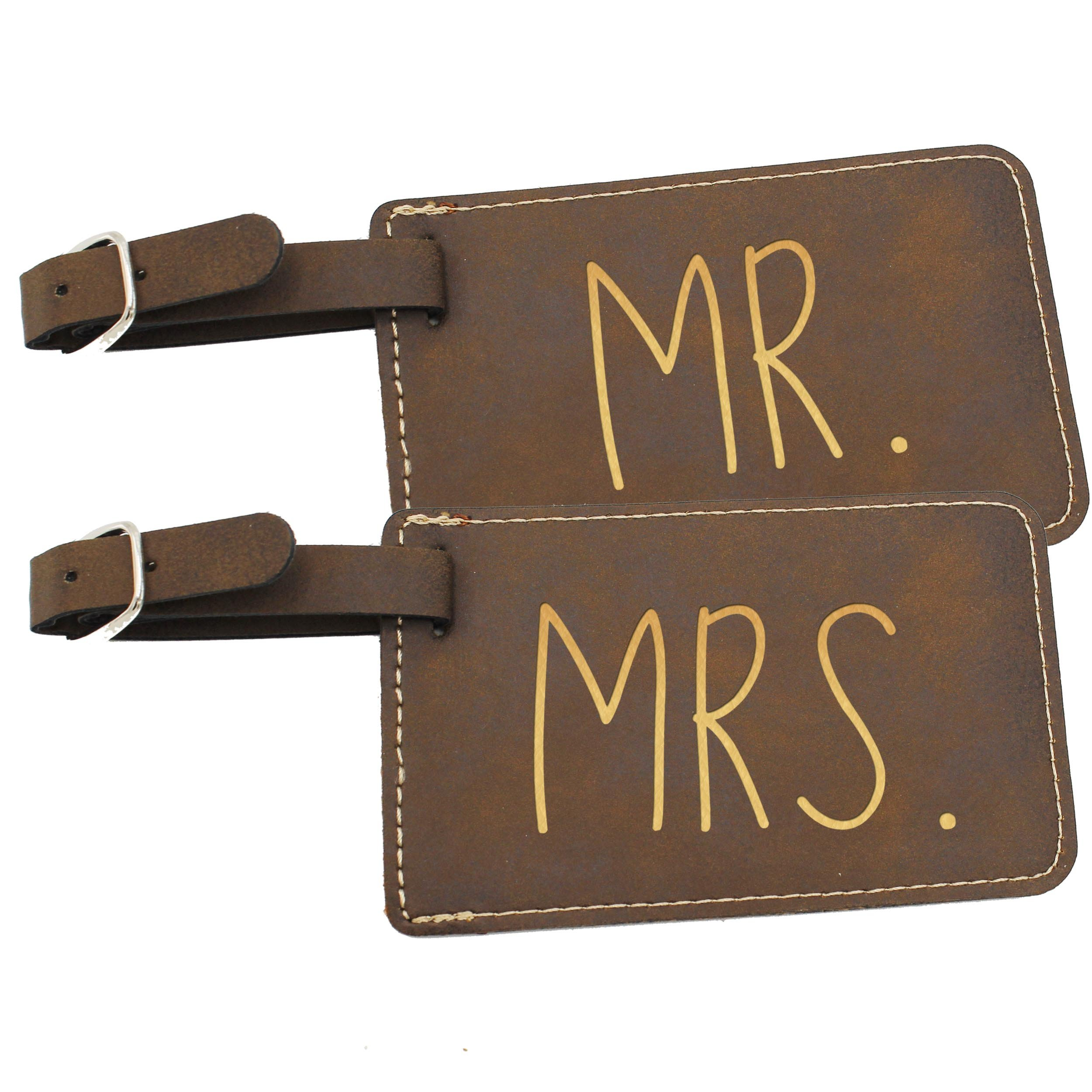 Mr and Mrs His and Hers Couples Luggage Travel Tags for Bags - Gift Set of 2 (Mr and Mrs Rawhide)