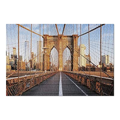 New York City, NY - Brooklyn Bridge at Sunrise 9002484 (Premium 500 Piece Jigsaw Puzzle for Adults, 13x19, Made in USA!): Toys & Games