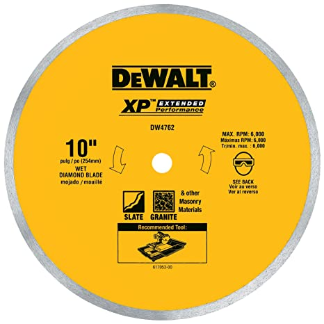 DEWALT DW Inch Wet Cutting Continuous Rim Saw Blade With - Best wet saw blade for porcelain tile