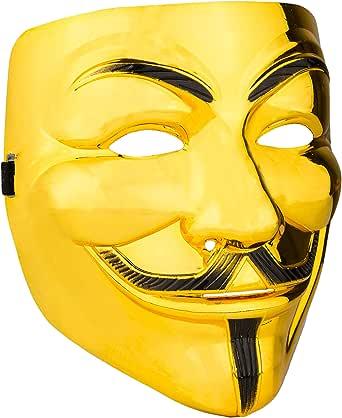 Diximus Halloween Masks - V for Vendetta Mask Anonymous Guy Fawkes Hacker Mask for Women Man Kids - Gold